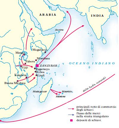 Le rotte dei mercanti arabi di schiavi